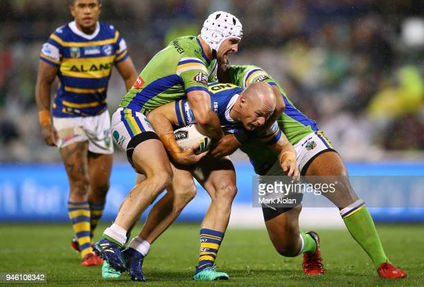 Beau Scott of the Eels is tackled during the round six NRL match between the Canberra Raiders and the Parramatta Eels at GIO Stadium on April 14 2018...