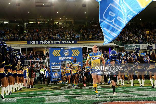 Beau Scott of the Eels runs on the ground during the round 10 NRL match between the Parramatta Eels and the South Sydney Rabbitohs on May 13 2016 in...