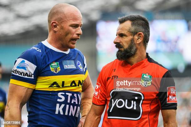 Beau Scott of the Eels speaks to referee Gavin Badger during the round four NRL match between the Wests Tigers and the Parramatta Eels at ANZ Stadium...