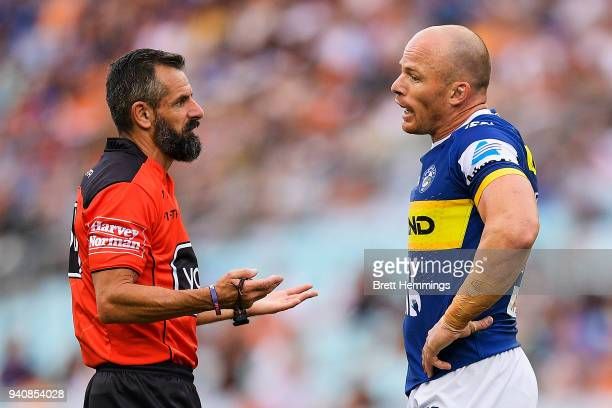 Beau Scott of the Eels speaks to the referee during the round four NRL match between the Wests Tigers and the Parramatta Eels at ANZ Stadium on April...