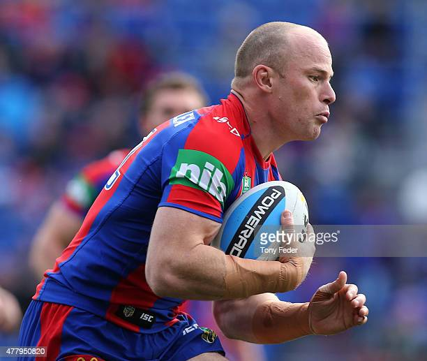 Beau Scott of the Knights in action during the round 15 NRL match between the Newcastle Knights and the Cronulla Sharks at Hunter Stadium on June 21...
