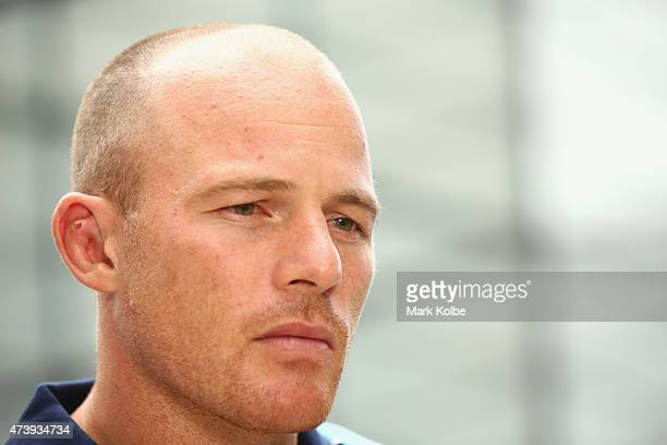 Beau Scott speaks to the media during the New South Wales Blues State of Origin Team Announcement and Media Session at The Star on May 19 2015 in...