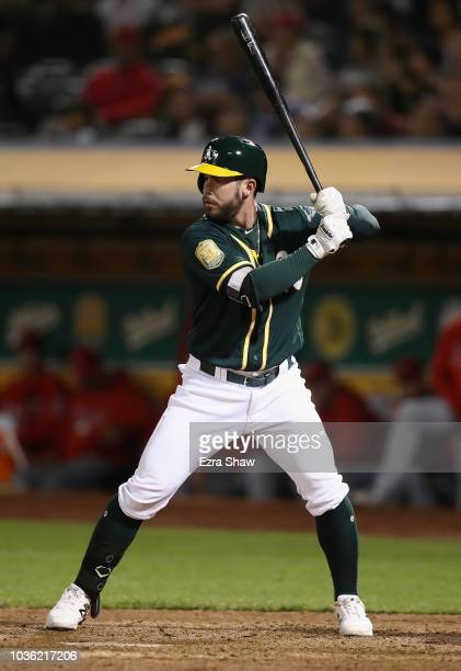 Beau Taylor of the Oakland Athletics bats against the Los Angeles Angels at Oakland Alameda Coliseum on September 19 2018 in Oakland California