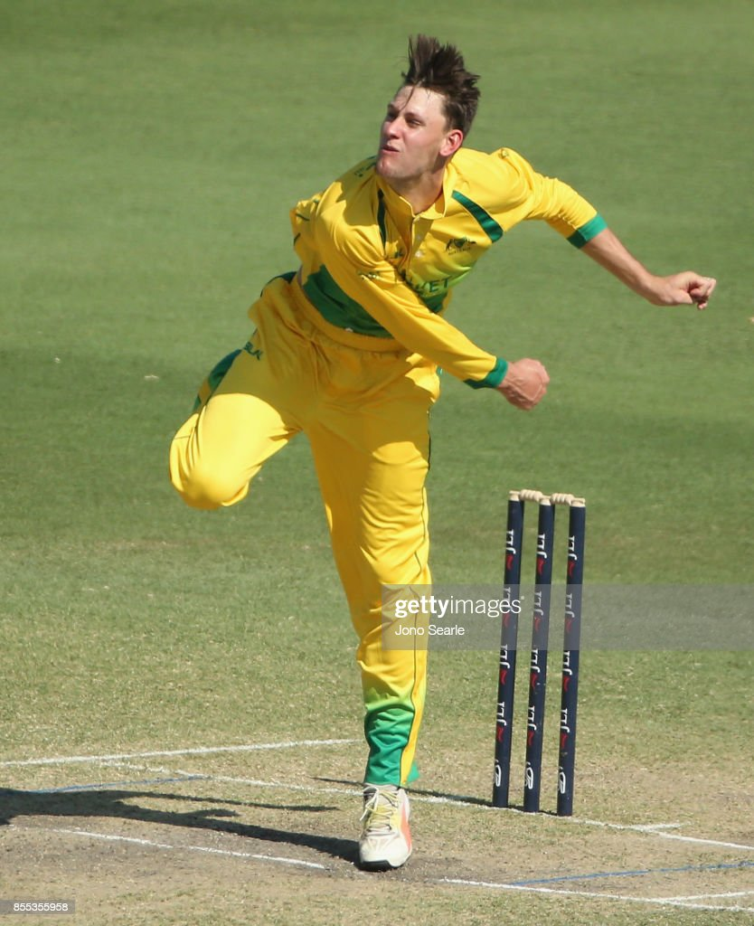 Beau Webster of CA XI bowls a ball during the JLT One Day Cup match between Queensland and the Cricket Australia XI at Allan Border Field on September 29, 2017 in Brisbane, Australia.