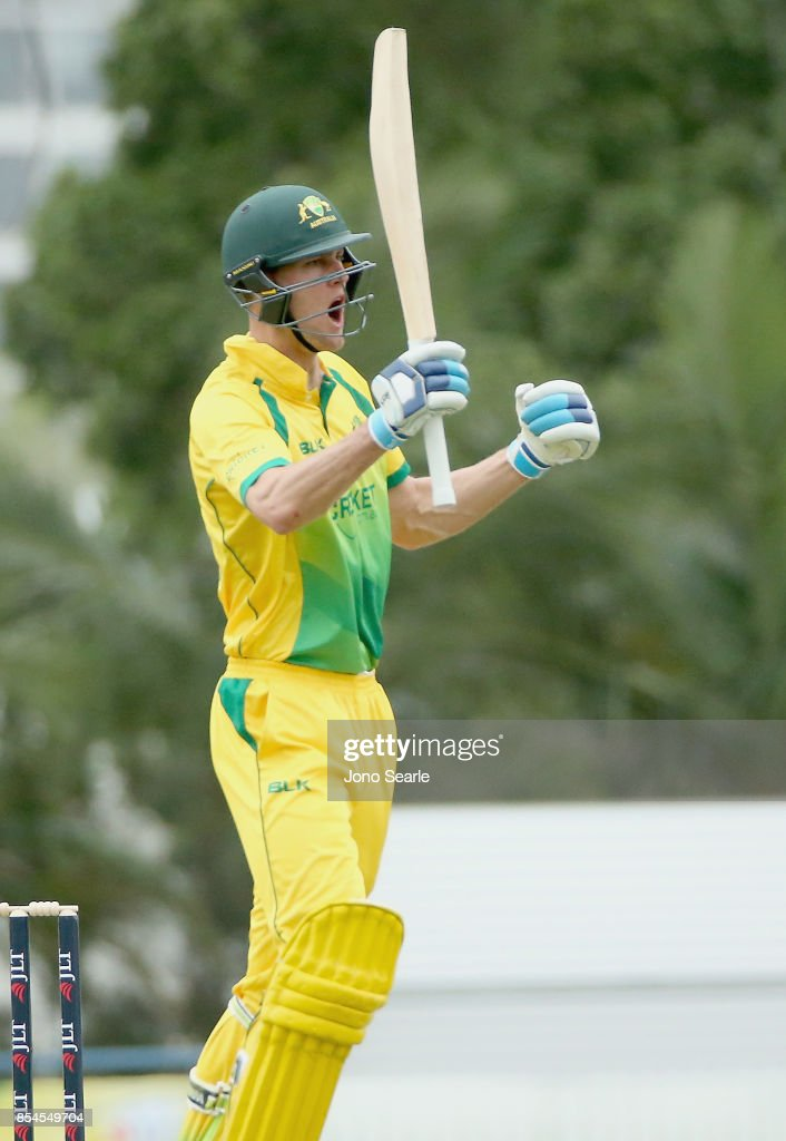 Beau Webster of CA XI celebrates his century during the JLT One Day Cup match between South Australia and the Cricket Australia XI at Allan Border Field on September 27, 2017 in Brisbane, Australia.