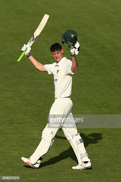 Beau Webster of Tasmania celebrates his century during day three of the Sheffield Shield match between Tasmania and Victoria at Blundstone Arena on...