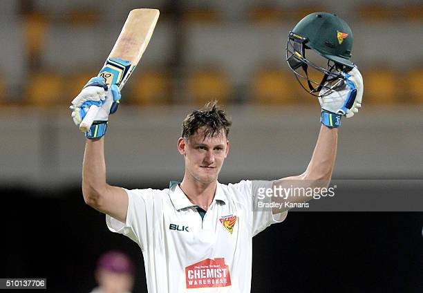 Beau Webster of Tasmania celebrates scoring a century during day one of the Sheffield Shield match between Queensland and Tasmania at The Gabba on...