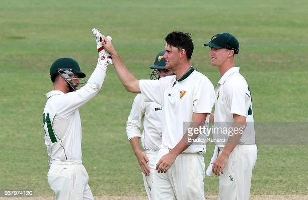 Beau Webster of Tasmania celebrates taking the wicket of Michael Neser of Queensland during day four of the Sheffield Shield Final match between...
