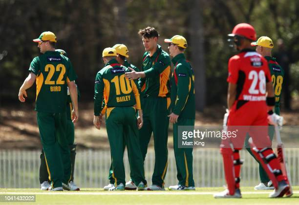 Beau Webster of Tasmania celebrates with team mates after taking the wicket of Alex Carey of South Australia during the JLT One Day Cup match between...