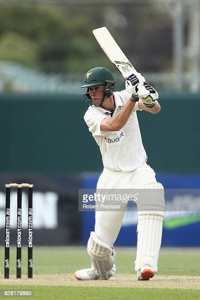Beau Webster of Tasmania plays a shot during day three of the Sheffield Shield match between Tasmania and Victoria at Blundstone Arena on December 7...