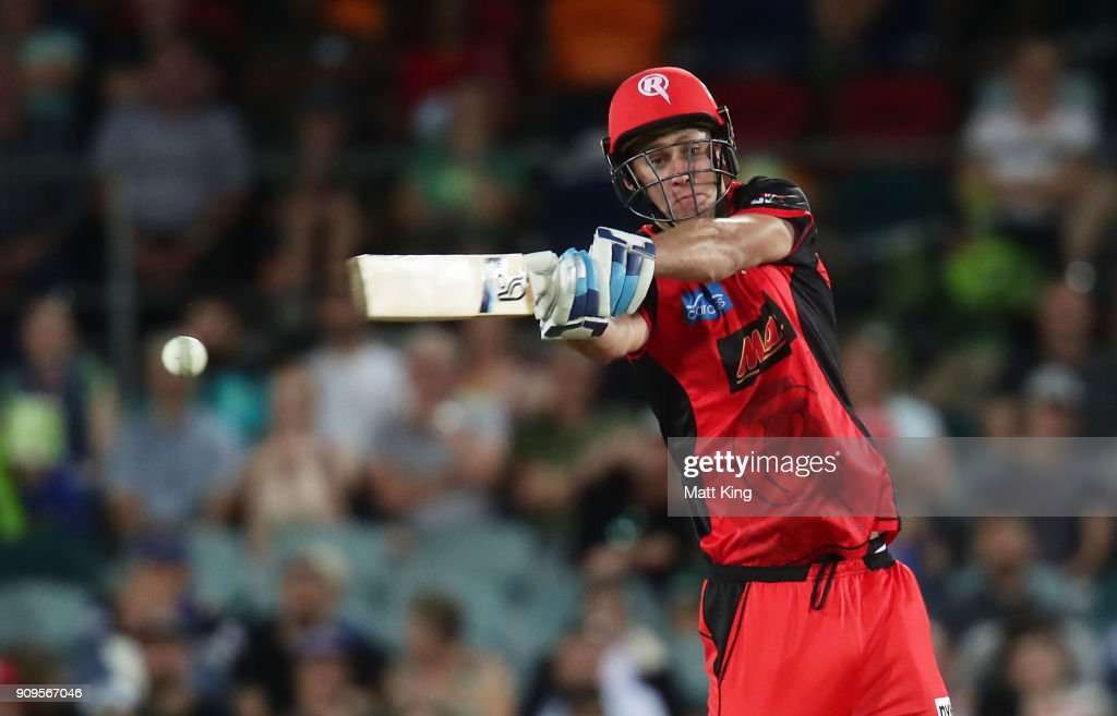 Beau Webster of the Renegades bats during the Big Bash League match between the Sydney Thunder and the Melbourne Renegades at Manuka Oval on January 24, 2018 in Canberra, Australia.