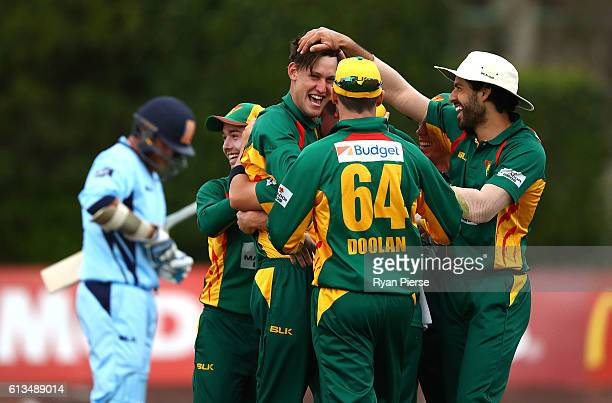 Beau Webster of the Tigers celebrates victory during the Matador BBQs One Day Cup match between New South Wales and Tasmania at Hurstville Oval on...