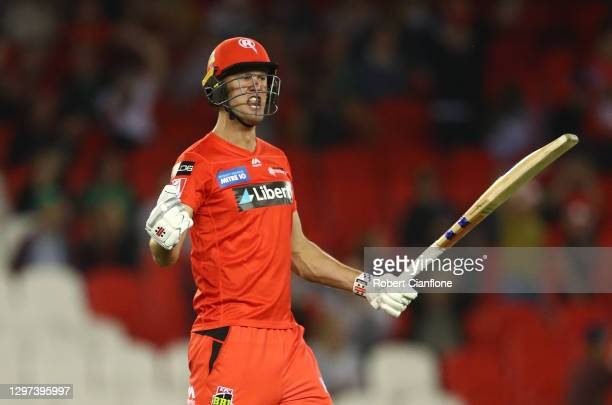 Beau Websterof the Renegades celebrates after he scored the winning runs during the Big Bash League match between the Melbourne Renegades and the...