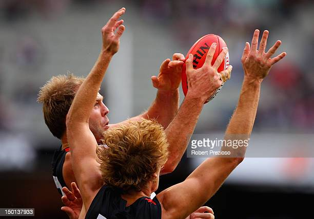 Beau Wilkes of the Saints takes a mark during the round 20 AFL match between the St Kilda Saints and the Melbourne Demons at the Melbourne Cricket...