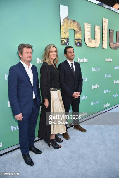 Beau Willimon Natasha McElhone and Jordan Tappis attend the Hulu Upfront 2018 Brunch at La Sirena on May 2 2018 in New York City