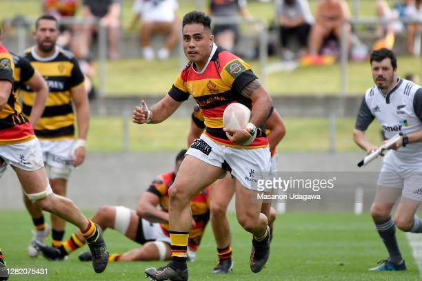 Beaudein Waaka of Waikato makes a break during the round 7 Mitre 10 Cup match between Waikato and Taranaki at FMG Stadium on October 25 2020 in...