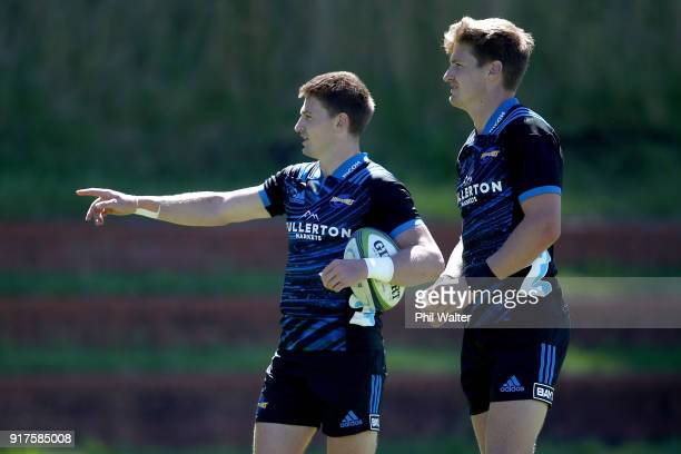 Beauden Barrett and Jordie Barrett of the Hurricanes during a Hurricanes Super Rugby training session at Rugby League Park on February 13 2018 in...