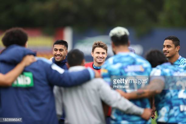 Beauden Barrett and Rieko Ioane of the Blues during a Blues Super Rugby Trans-Tasman training session at Blues HQ on June 15, 2021 in Auckland, New...