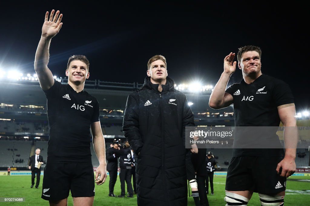 Beauden Barrett, Jordie Barrett and Scott Barrett of the All Blacks wave to the crowd after winning the International Test match between the New Zealand All Blacks and France at Eden Park on June 9, 2018 in Auckland, New Zealand.