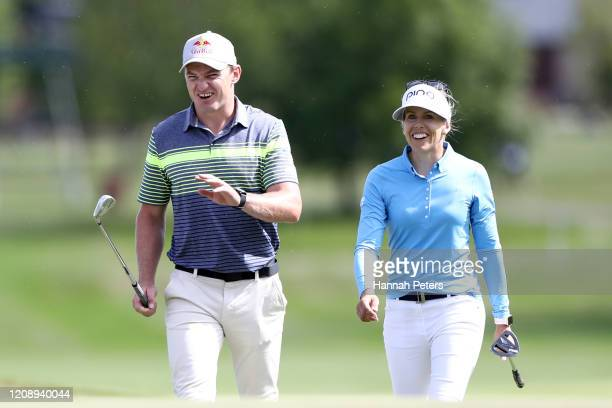 Beauden Barrett of New Zealand and Pernilla Lindberg of Sweden during day one of the 2020 New Zealand Golf Open at Millbrook Resort on February 27...
