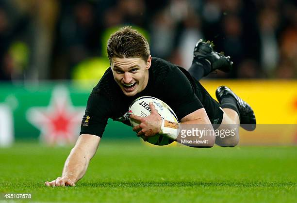 Beauden Barrett of New Zealand dives over the line to score his team's third try during the 2015 Rugby World Cup Final match between New Zealand and...