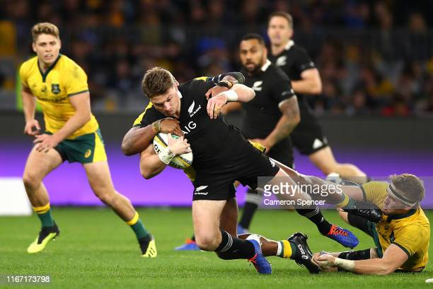 Beauden Barrett of New Zealand is tackled during the 2019 Rugby Championship Test Match between the Australian Wallabies and the New Zealand All...
