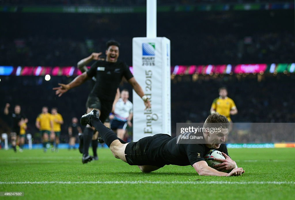 Beauden Barrett of New Zealand scores his team's third try during the 2015 Rugby World Cup Final match between New Zealand and Australia at Twickenham Stadium on October 31, 2015 in London, United Kingdom.