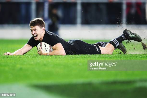 Beauden Barrett of the All Blacks celebrates after scoring the winning try during The Rugby Championship Bledisloe Cup match between the New Zealand...