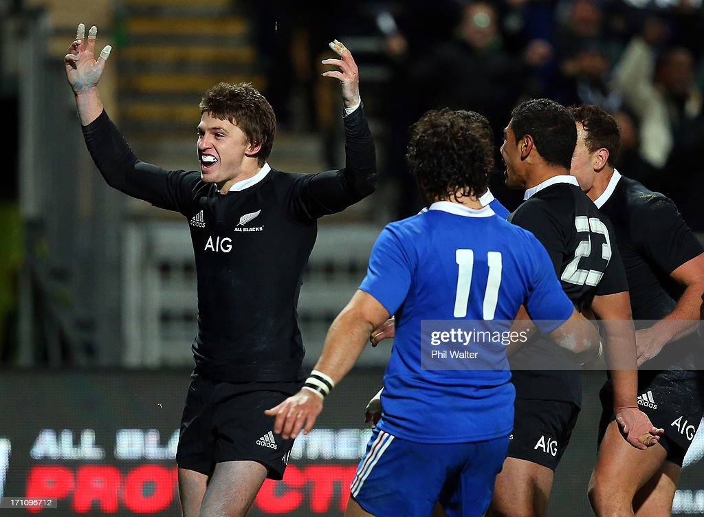 Beauden Barrett of the All Blacks celebrates his try during the Third Test Match between the New Zealand All Blacks and France at Yarrow Stadium on June 22, 2013 in New Plymouth, New Zealand.