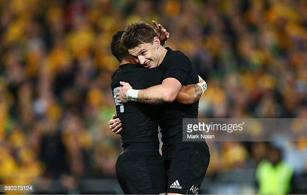 Beauden Barrett of the All Blacks celebrates his try with a team mate during the Bledisloe Cup Rugby Championship match between the Australian...