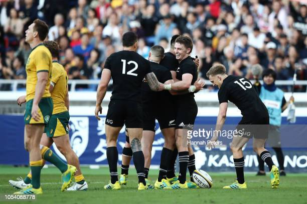 Beauden Barrett of the All Blacks celebrates scoring a try during the Bledisloe Cup test match between the New Zealand All Blacks and Australian...