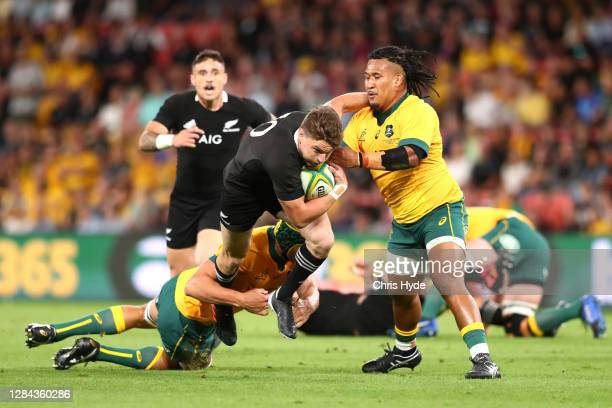 Beauden Barrett of the All Blacks charges forward during the 2020 Tri-Nations match between the Australian Wallabies and the New Zealand All Blacks...