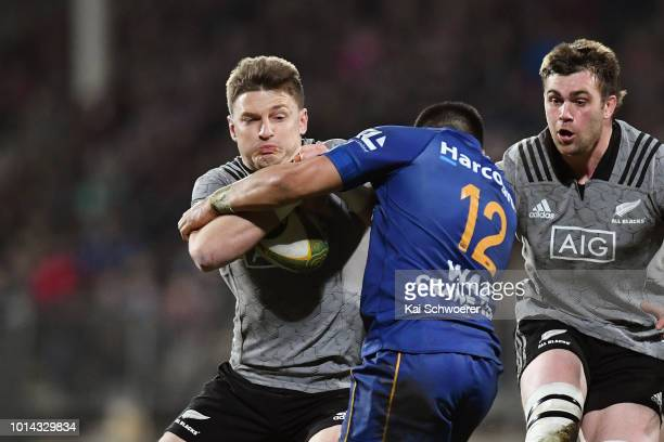 Beauden Barrett of the All Blacks charges forward during the Game of Three Halves between the New Zealand All Blacks and Otago at AMI Stadium on...