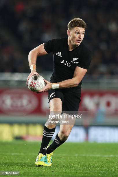 Beauden Barrett of the All Blacks charges forward during the International Test match between the New Zealand All Blacks and France at Eden Park on...