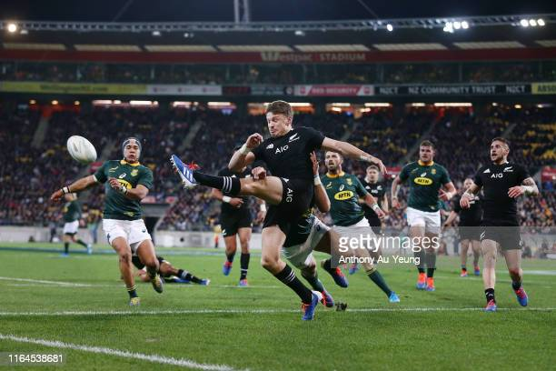 Beauden Barrett of the All Blacks clears a kick during the 2019 Rugby Championship Test Match between New Zealand and South Africa at Westpac Stadium...