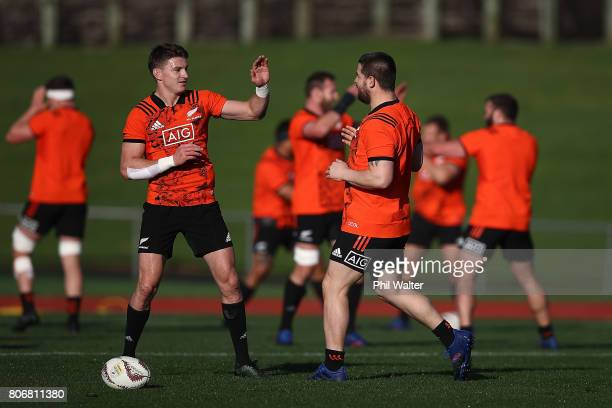 Beauden Barrett of the All Blacks during a New Zealand All Blacks training session at Trusts Stadium on July 4 2017 in Auckland New Zealand