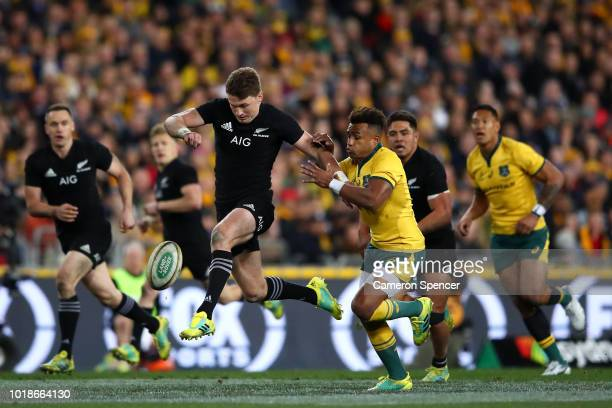 Beauden Barrett of the All Blacks kicks ahead during The Rugby Championship Bledisloe Cup match between the Australian Wallabies and the New Zealand...