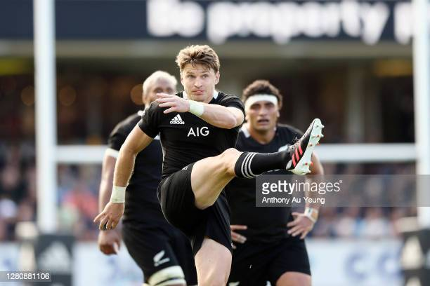 Beauden Barrett of the All Blacks kicks for touch during the Bledisloe Cup match between the New Zealand All Blacks and the Australian Wallabies at...