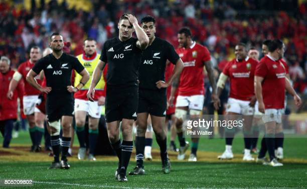 Beauden Barrett of the All Blacks leaves the pitch looking dejected following defeat in the International Test match between the New Zealand All...