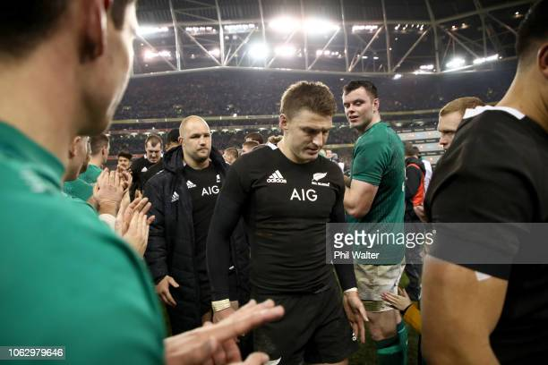 Beauden Barrett of the All Blacks looks dejected following the International Friendly match between the New Zealand All Blacks and Ireland on...