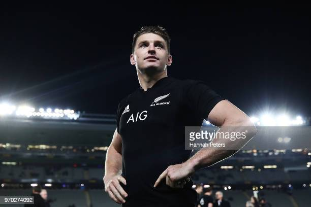 Beauden Barrett of the All Blacks looks on after winning the International Test match between the New Zealand All Blacks and France at Eden Park on...