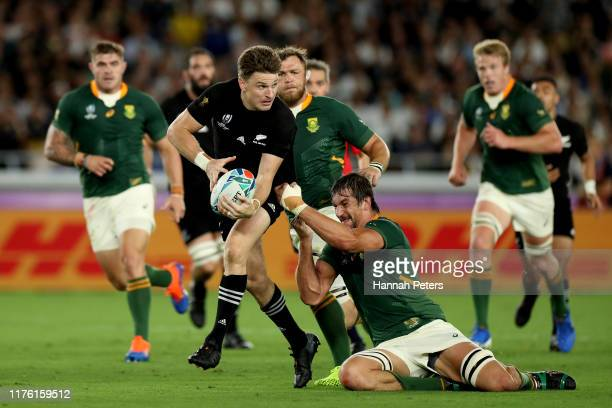 Beauden Barrett of the All Blacks makes a break during the Rugby World Cup 2019 Group B game between New Zealand and South Africa at International...