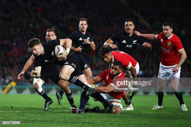 Beauden Barrett of the All Blacks makes a break during the Test match between the New Zealand All Blacks and the British Irish Lions at Eden Park on...