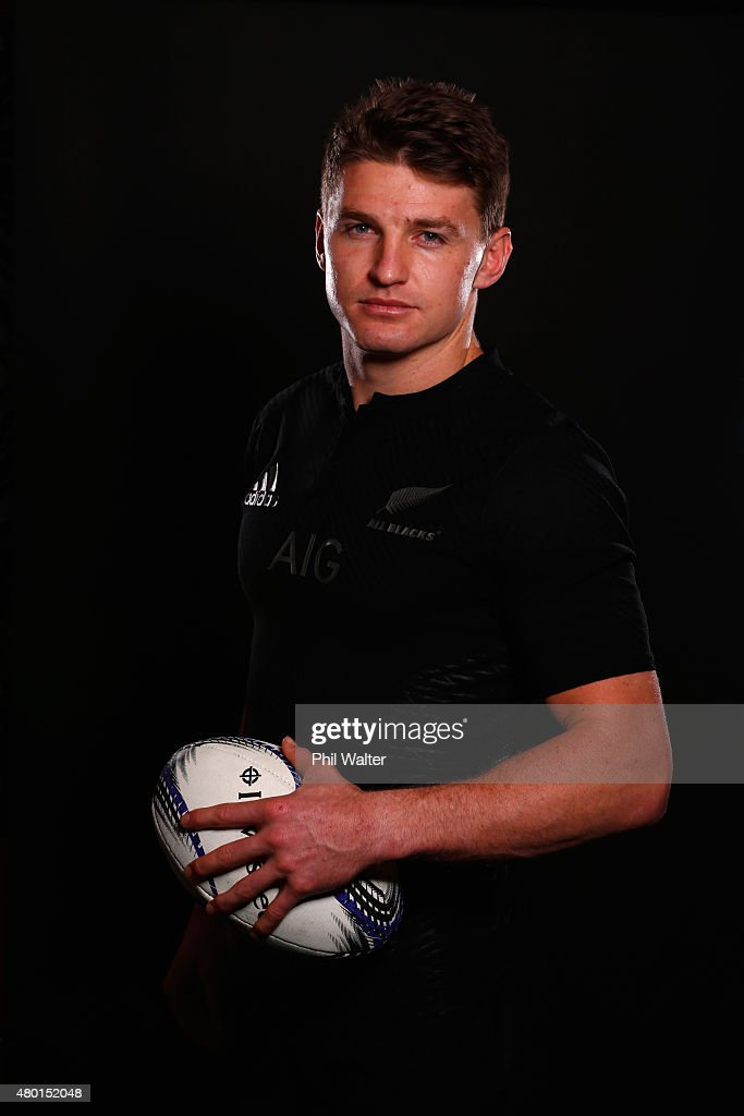 Beauden Barrett of the All Blacks poses for a portrait during a New Zealand All Blacks portrait session at the George Hotel on July 10, 2015 in Christchurch, New Zealand.