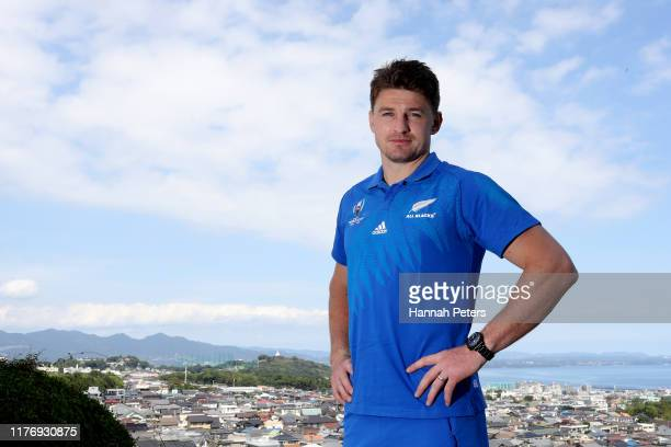 Beauden Barrett of the All Blacks poses for a portrait following a New Zealand press conference on September 25, 2019 in Beppu, Oita, Japan.
