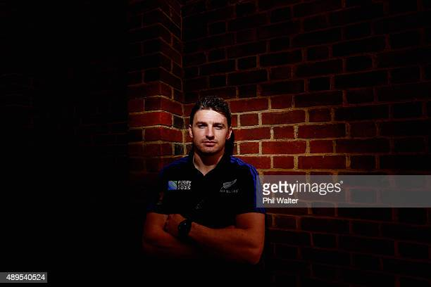 Beauden Barrett of the All Blacks poses for a portrait following a New Zealand All Blacks media session at the Lensbury on September 22, 2015 in...