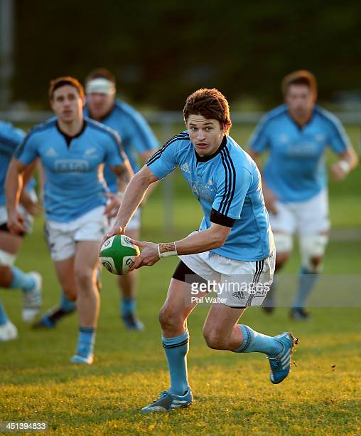 Beauden Barrett of the All Blacks runs the ball during a New Zealand All Blacks training session at the Westmanstown Sport and Conference Centre on...