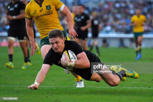 Beauden Barrett of the All Blacks scores a try during the Bledisloe Cup Bledisloe Cup test match between New Zealand All Blacks and Australian...
