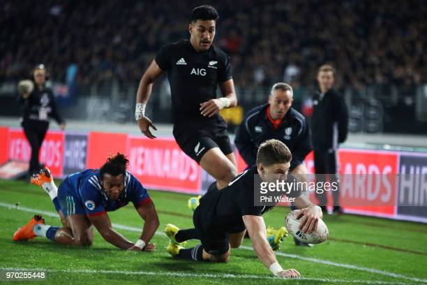 Beauden Barrett of the All Blacks scores a try during the International Test match between the New Zealand All Blacks and France at Eden Park on June...