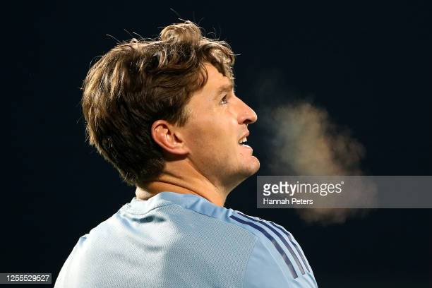 Beauden Barrett of the Blues before the round 5 Super Rugby Aotearoa match between the Crusaders and the Blues at Orangetheory Stadium on July 11...